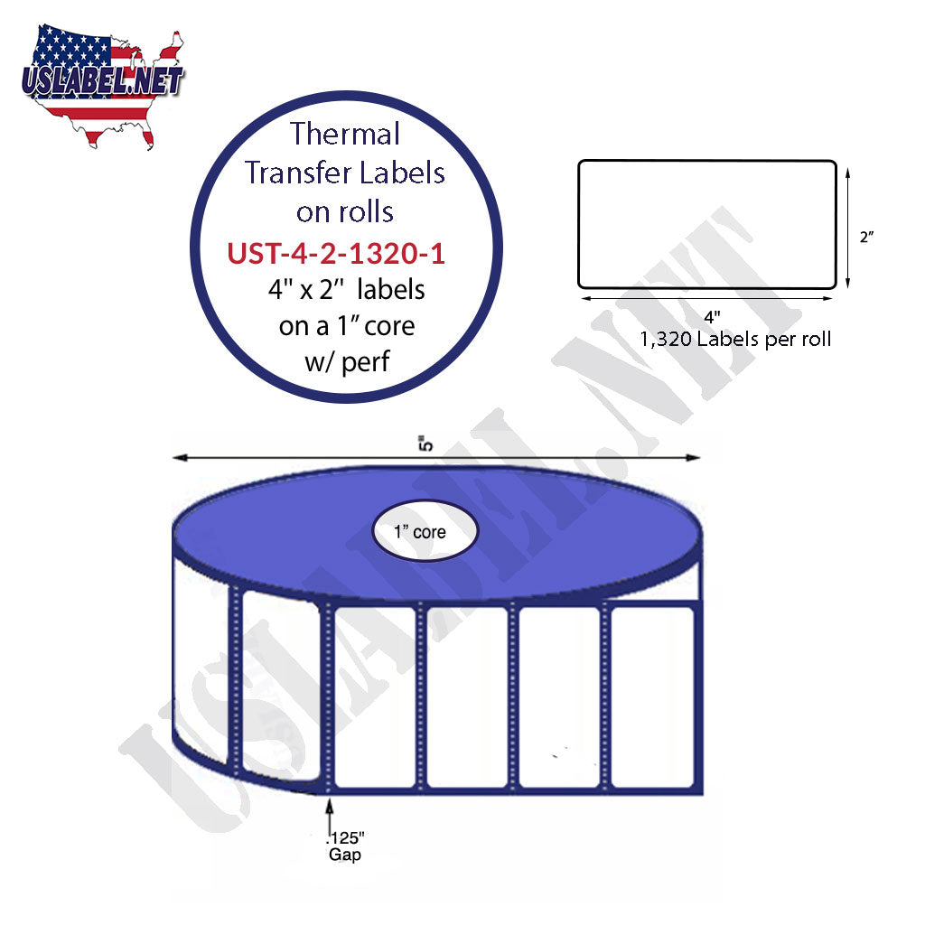 UST-4-2-1320-1 - 4'' x 2'' - 1,320 Labels 5'' OD on a 1'' core 15,840 labels. - uslabel.net - The Label Resource Center
