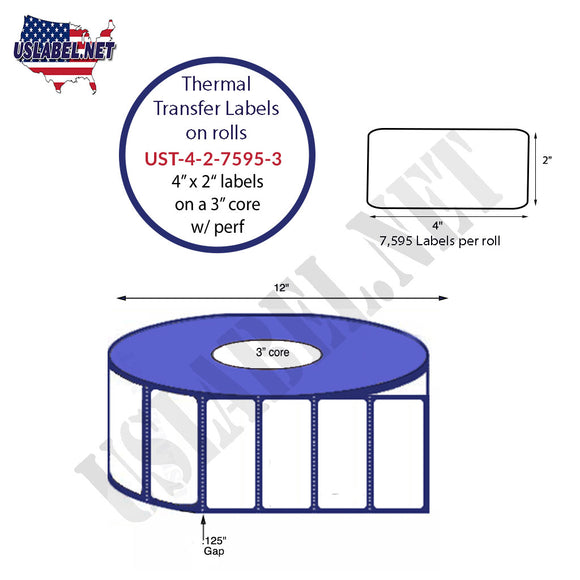 4'' x 2''   Thermal Transfer Labels on a 3 '' Core — 12 '' OD - uslabel.net  America's label store.