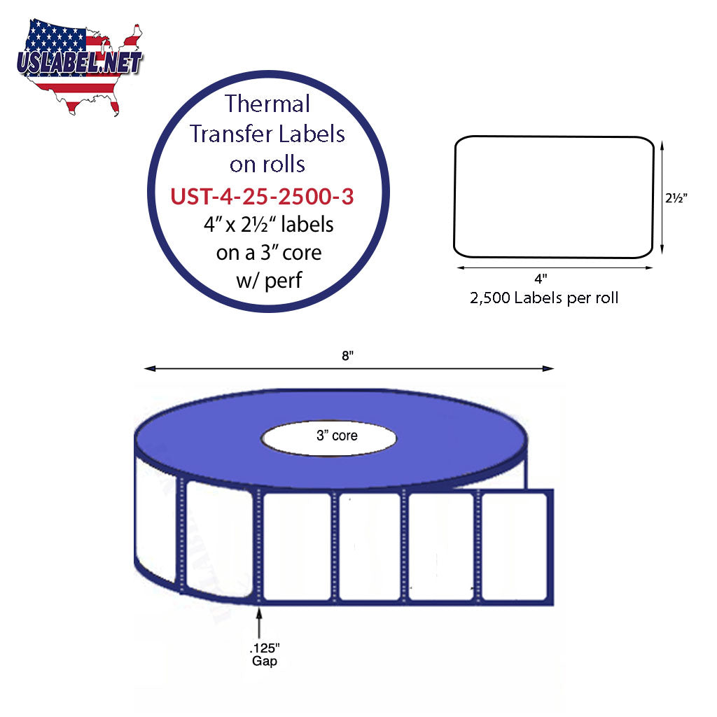 UST-4-25-2500-3-4'' x 2 1/2'' - 2,500 Labels 8'' OD on a 3'' core 10,000 labels - uslabel.net - The Label Resource Center