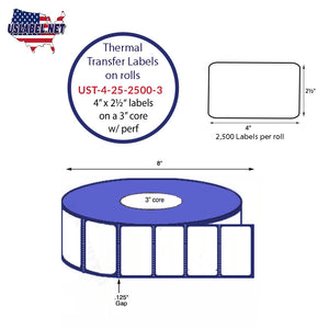 4'' x 2.5''   Thermal Transfer Labels on a 3 '' Core — 8 '' OD - uslabel.net  America's label store.