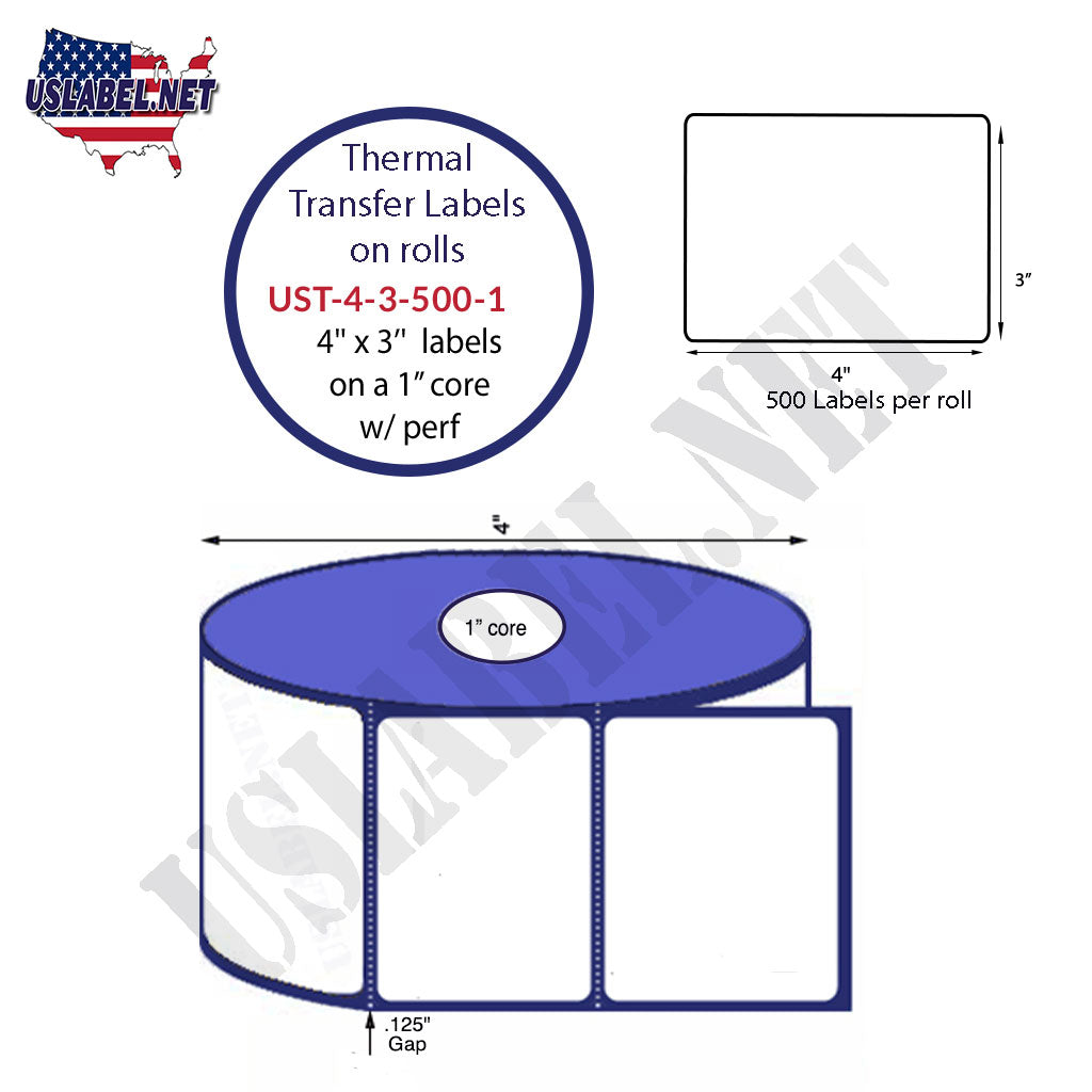 UST-4-3-500-1 - 4'' x 3'' - 500 Labels 4'' OD on a 1'' core 6,000 labels. - uslabel.net - The Label Resource Center