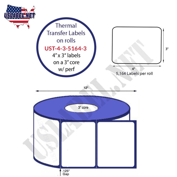 4'' x 3''   Thermal Transfer Labels on a 3 '' Core — 12 '' OD - uslabel.net  America's label store.