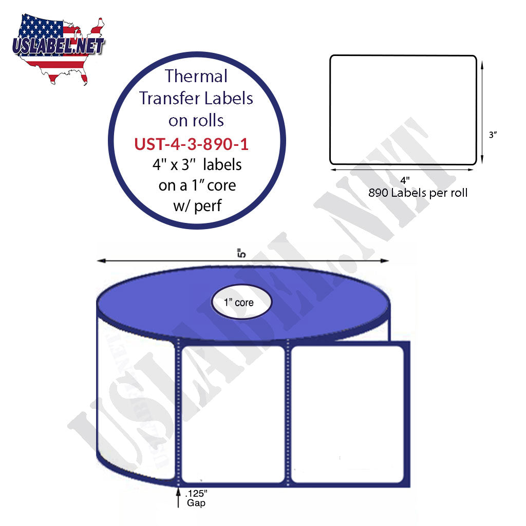 UST-4-3-890-1 - 4'' x 3'' - 890 Labels 5'' OD on a 1'' core 10,680 labels. - uslabel.net - The Label Resource Center