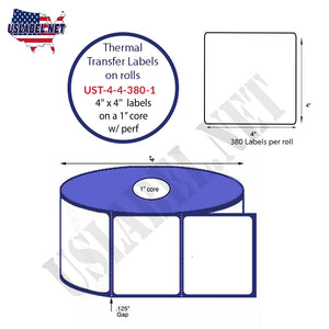 4'' x 4''   Thermal Transfer Labels on a 1 '' Core — 4 '' OD - uslabel.net  America's label store.