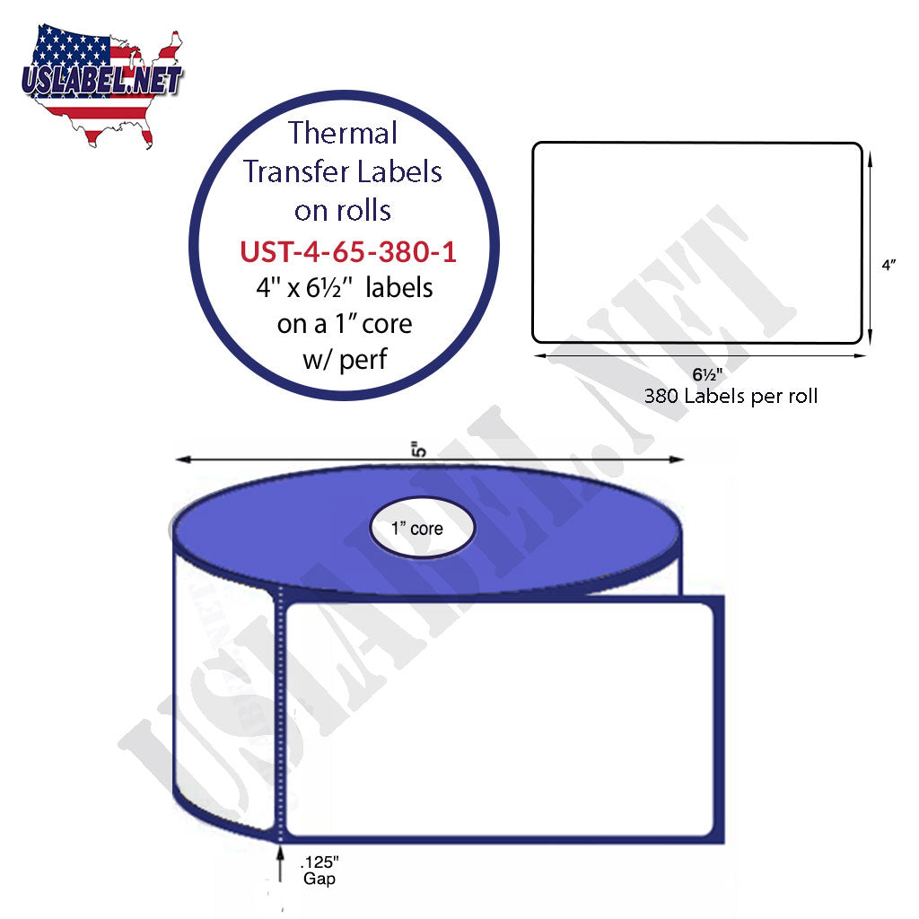 UST-4-65-380-1 - 4'' x 6 1/2'' -380 Labels 5'' OD on a 1'' core 4,560 labels. - uslabel.net - The Label Resource Center