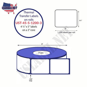 4.5'' x 5''   Thermal Transfer Labels on a 3 '' Core — 8 '' OD - uslabel.net  America's label store.