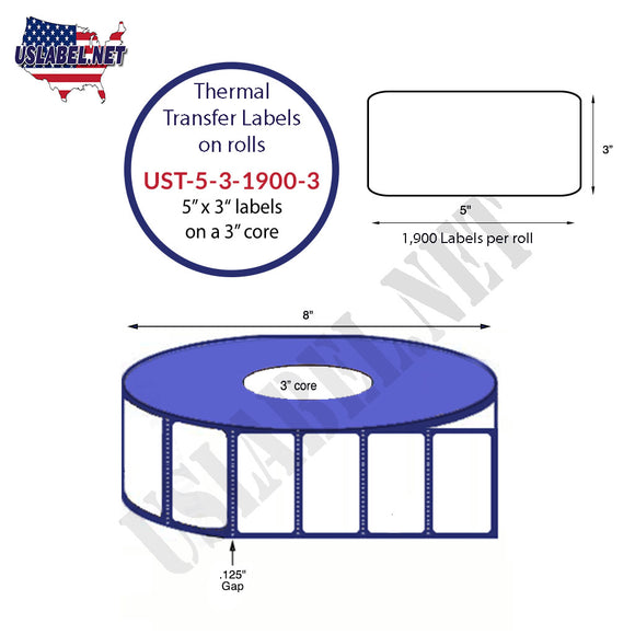 5'' x 3''   Thermal Transfer Labels on a 3 '' Core — 8 '' OD - uslabel.net  America's label store.