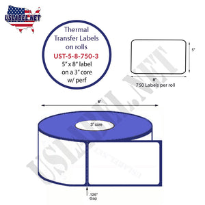 5'' x 8''   Thermal Transfer Labels on a 3 '' Core — 8 '' OD - uslabel.net  America's label store.