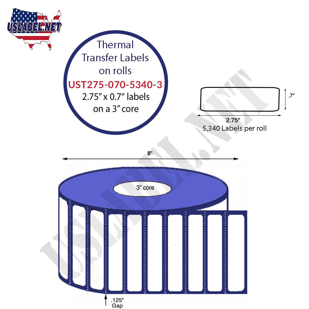 UST275-070-5340-3-2.75'' x .70'' Labels 5,340-8''OD roll-3'' core 42,720 labels - uslabel.net - The Label Resource Center