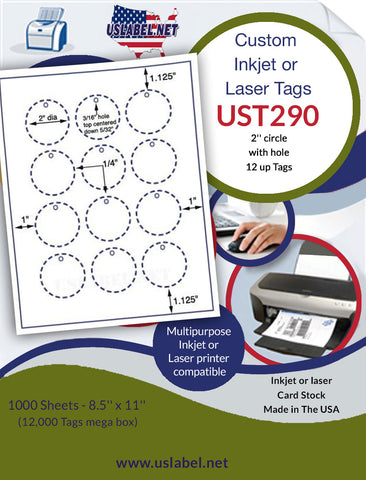 UST290 - 2'' Circle 12 up with holes White Tag 1,000 sheets