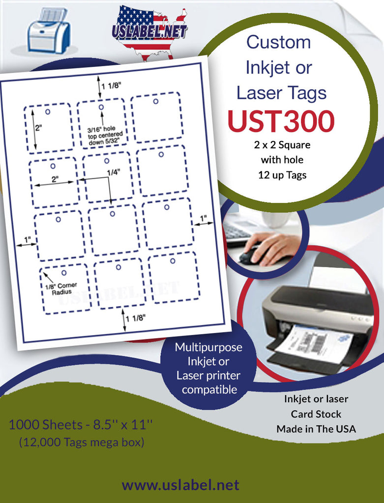 UST300 - 2'' x 2'' Square 12 up with holes White Tag 1,000 sheets. - uslabel.net - The Label Resource Center
