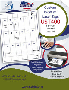 UST400 - 1 1/4'' x 3'' - 18 up with holes Tag 1,000 sheets.