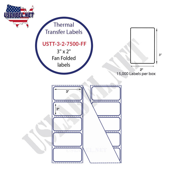 3'' x 2''   Thermal Transfer Labels in a Fan Fold Stack - uslabel.net  America's label store.