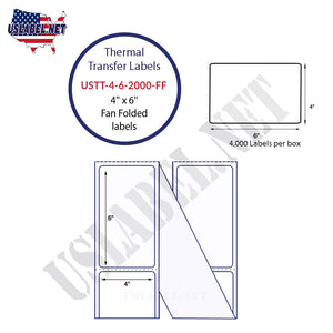 6'' x 4''   Thermal Transfer Labels in a Fan Fold Stack - uslabel.net  America's label store.