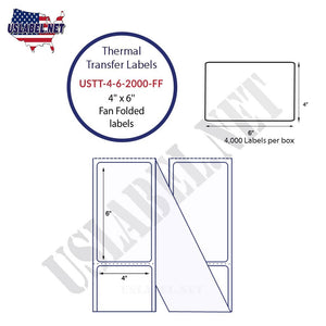 4'' x 6''   Thermal Transfer Labels in a Fan Fold Stack - uslabel.net  America's label store.