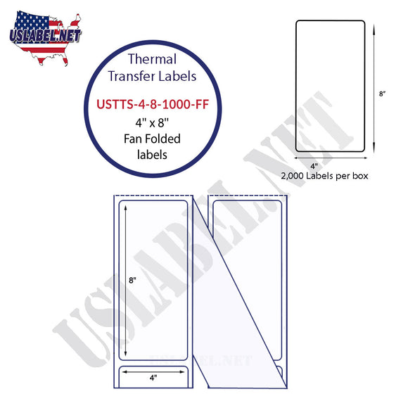 4'' x 8''   Thermal Transfer Labels in a Fan Fold Stack - uslabel.net  America's label store.