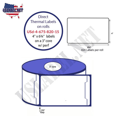 4'' x 6 3/4''Direct Thermal Shipping System label 820 on 3'' core 3,280 labels