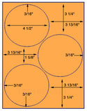 "US4160-4 1/2''-3 up circle on a 8 1/2""x11"" label sheet."