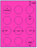 "US4198-2''circle 12 up # 22807 on a 8 1/2"" x 11"" label sheet."
