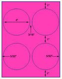 "US4167-4''circle 4 up on a 8 1/2"" x 11"" label sheet."