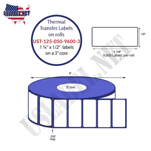 1.25'' x 0.5'' Thermal Transfer Labels on a 3 '' Core 8 '' OD - uslabel.net  America's label store.