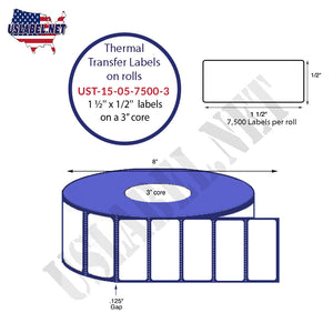 1.5'' x 0.5''   Thermal Transfer Labels on a 3 '' Core — 8 '' OD - uslabel.net  America's label store.