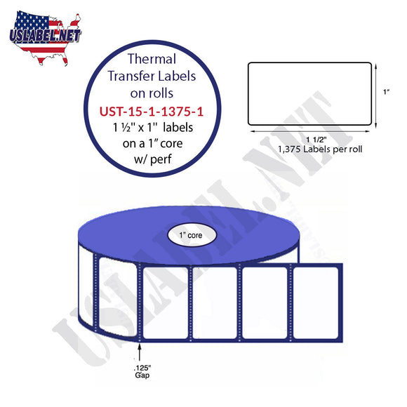 1.5'' x 1'' Thermal Transfer Labels on a 1 '' Core 4 ''OD - uslabel.net  America's label store.