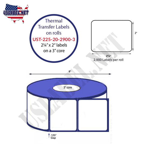 UST-225-20-2900-3-2 1/4'' x 2''-2,900 Labels 8'' OD on a 3'' core 23,200 labels