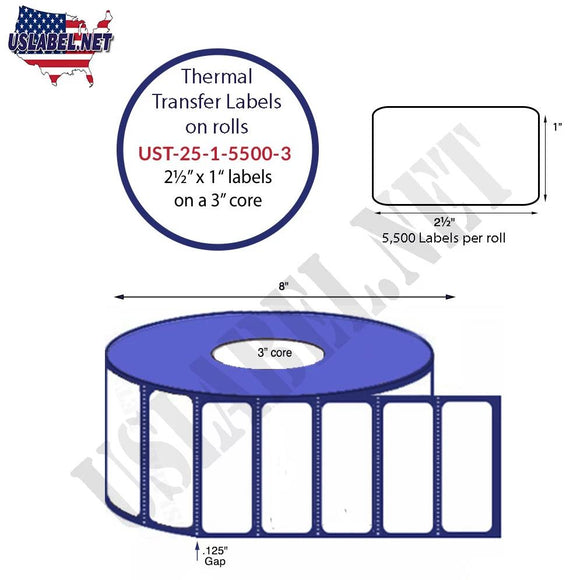 2.5'' x 1''   Thermal Transfer Labels on a 3 '' Core — 8 '' OD - uslabel.net  America's label store.