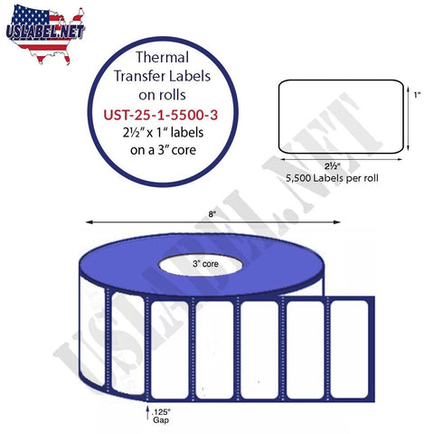 UST-25-1-5500-3-2 1/2'' x 1'' - 5,500 Labels 8'' OD on a 3'' core 44,000 labels