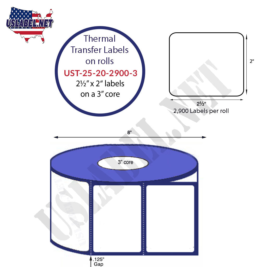 UST-25-20-2900-3-2 1/2'' x 2''- 2,900 Labels 8'' OD on a 3'' core 23,200 labels - uslabel.net - The Label Resource Center