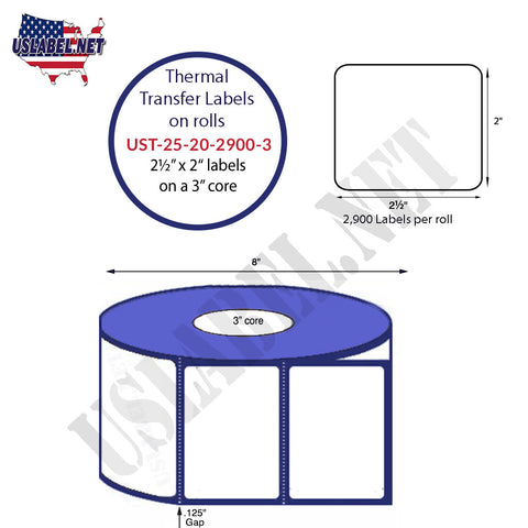 UST-25-20-2900-3-2 1/2'' x 2''- 2,900 Labels 8'' OD on a 3'' core 23,200 labels
