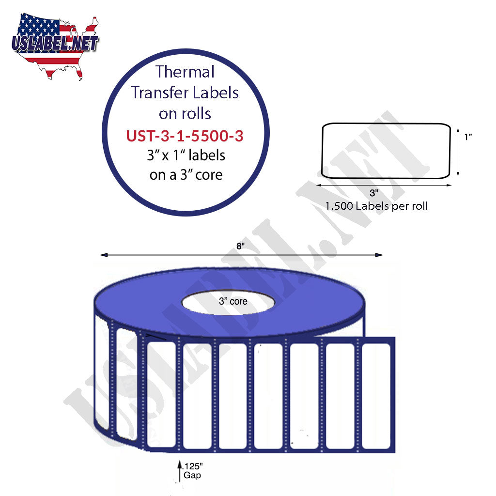 UST-3-1-5500-3- 3'' x 1'' - 5,500 Labels 8'' OD 44,000 labels on 8 rolls. - uslabel.net - The Label Resource Center