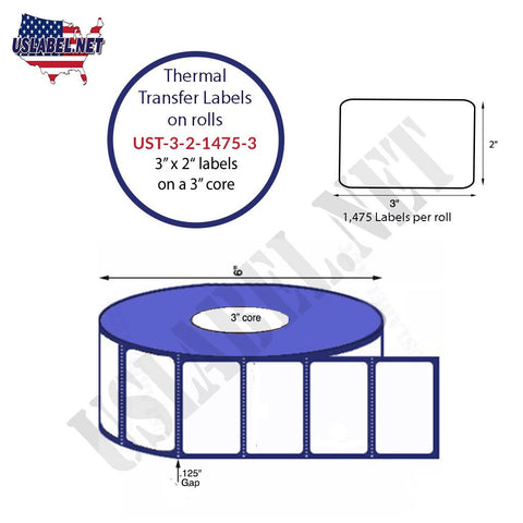 UST-3-2-1475-3-3'' x 2'' - 1,475 Labels 6'' O.D. on a 3'' core 11,800 Labels.