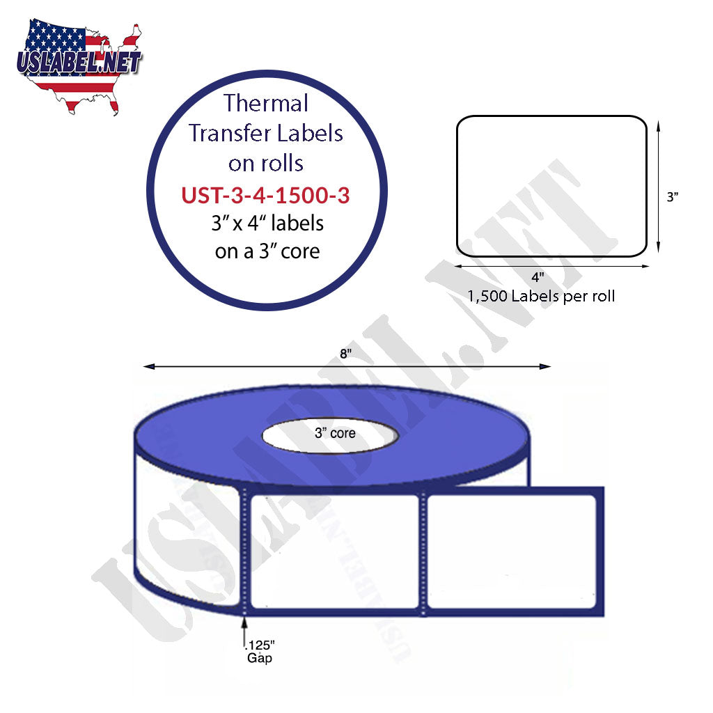 UST-3-4-1500-3 - 3'' x 4'' - 1,500 Labels 8'' O.D. on a 3'' core 12,000 Labels - uslabel.net - The Label Resource Center