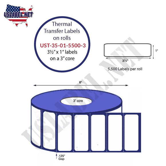 3.5'' x 1''   Thermal Transfer Labels on a 3 '' Core — 8 '' OD - uslabel.net  America's label store.