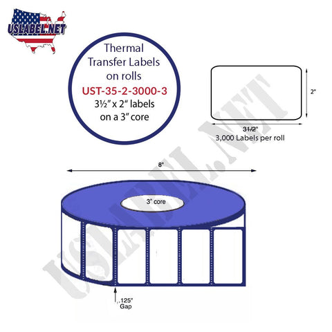 UST-35-2-3000-3-3 1/2'' x 2'' - 3,000 Labels 8''OD on 3'' core 12,000 Labels