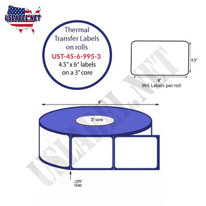 4.5'' x 6''   Thermal Transfer Labels on a 3 '' Core — 8 '' OD - uslabel.net  America's label store.