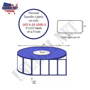 5'' x 2.5''   Thermal Transfer Labels on a 3 '' Core — 8 '' OD - uslabel.net  America's label store.