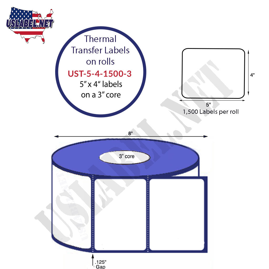 UST-5-4-1500-3 - 5'' x 4'' - 1,500 Labels on a 8'' OD 3'' core 6,000 labels. - uslabel.net - The Label Resource Center