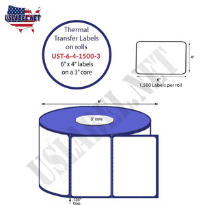 6'' x 4''   Thermal Transfer Labels on a 3 '' Core — 8 '' OD - uslabel.net  America's label store.