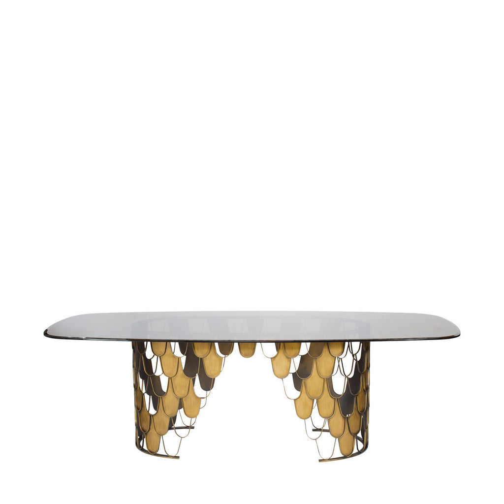 Moscow Dining Table In Brushed Brass Plating