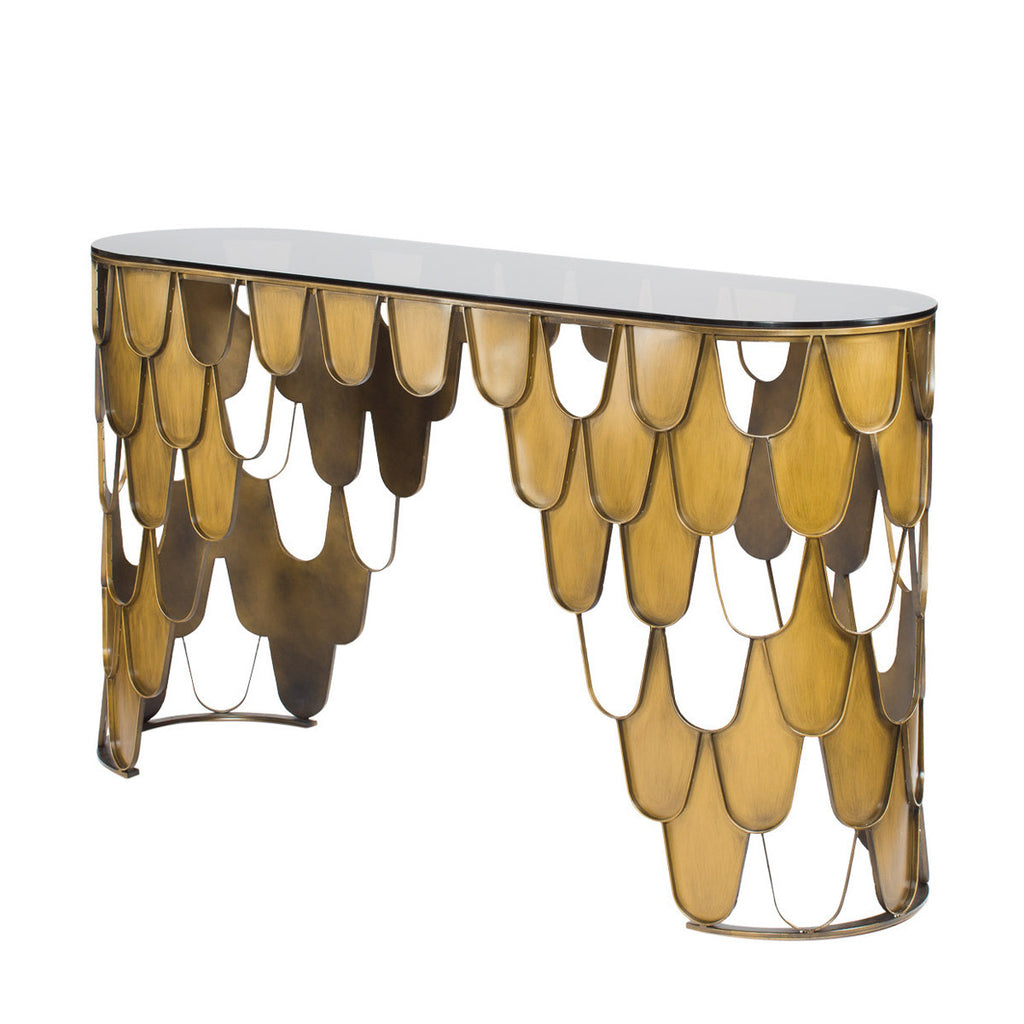 Moscow Console In Brushed Brass Plating