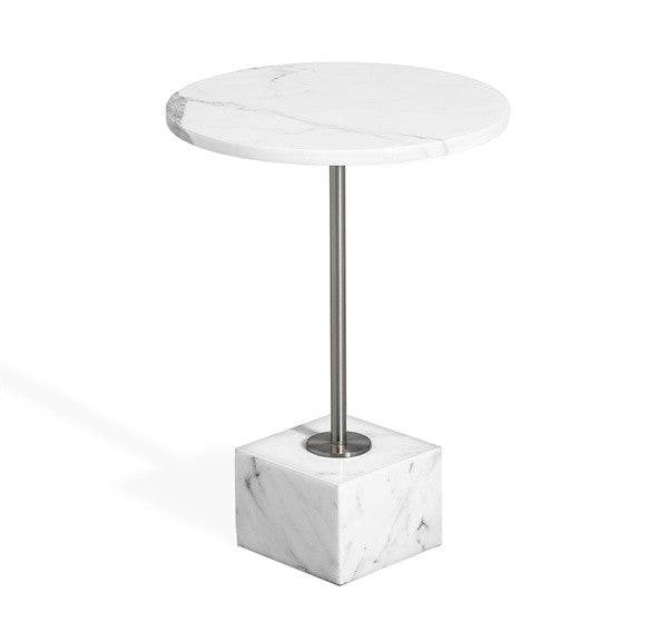SOLD   Rian Marble Side Table   Arabescato And Brushed Nickel