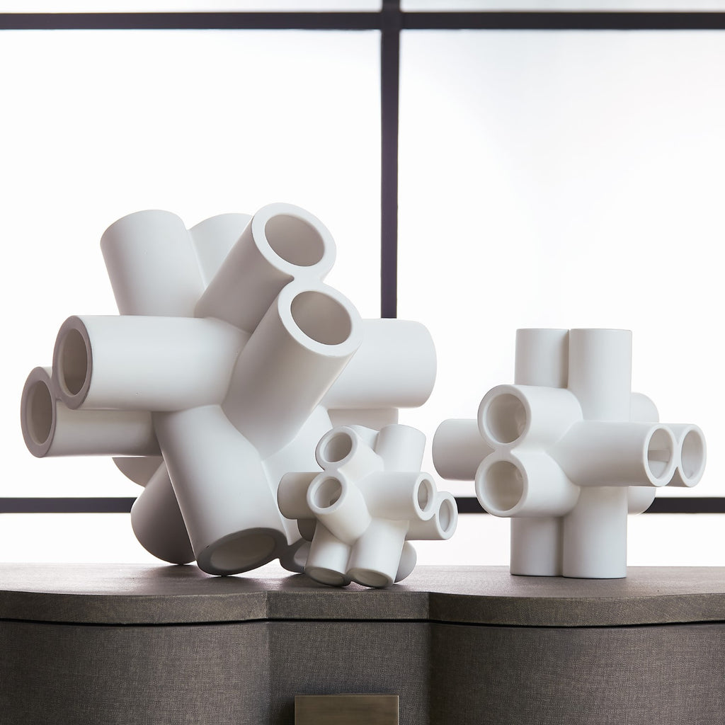 Cube Tube Sculpture Matte White Medium 10 25 X 10 25 X 10 25 Cadieux Interiors Ottawa Furniture Store