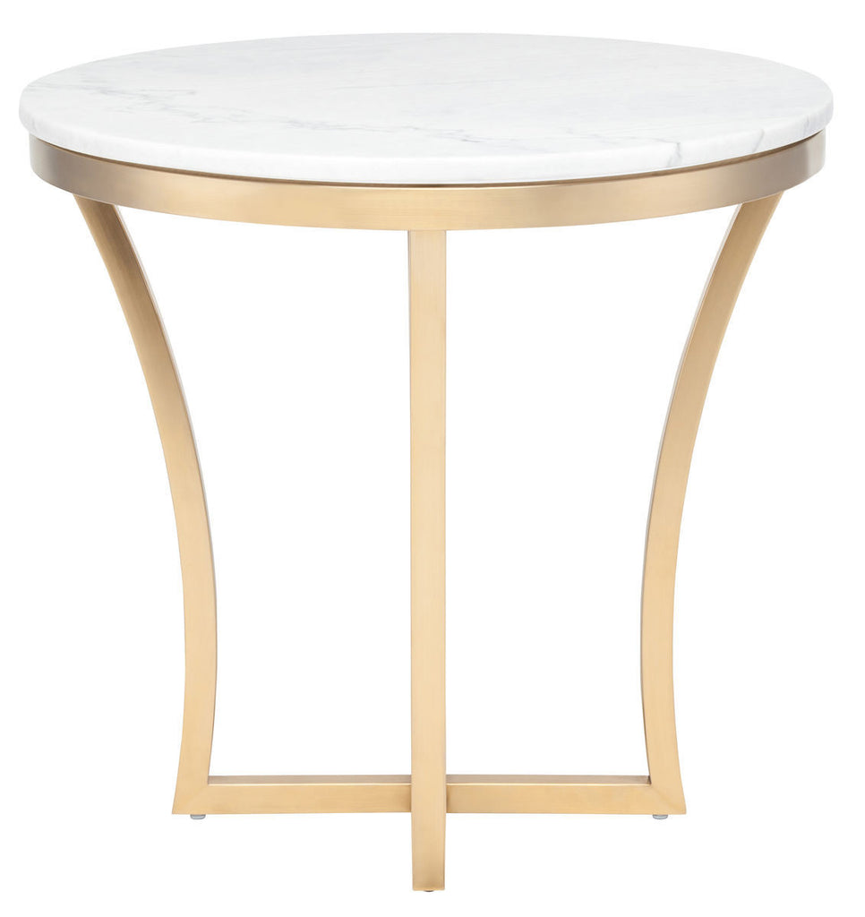 Nuevo Aurora Gold Coffee Table: Aurora Side Table In White Marble And Brushed Gold