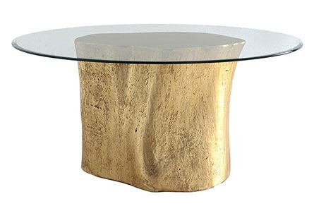 Philips Collection Log Table Base Glass Top In Gold Leaf Cadieux