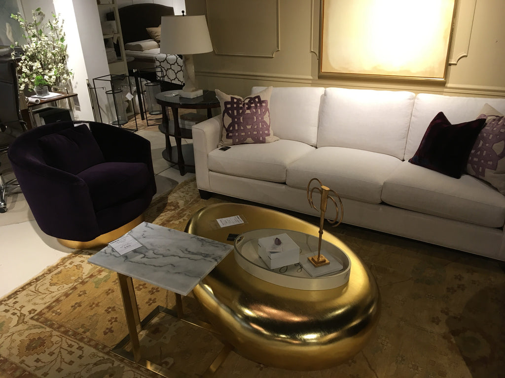 Riverstone Coffee Table 54 In Gold Leaf Finish As Shown