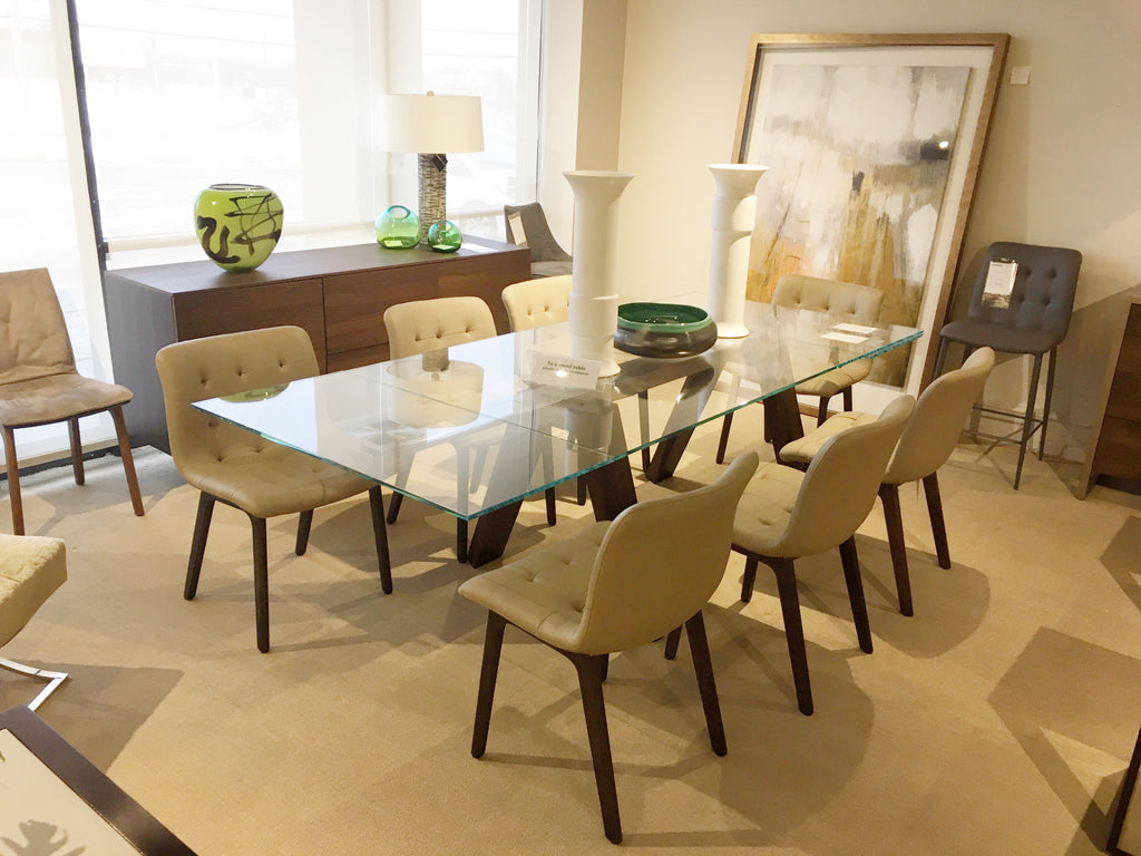 Aron Extension Dining Table With Glass Top And Spessart Oak Base