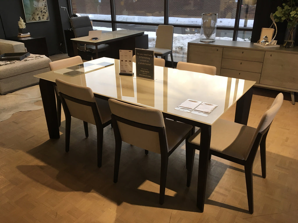Magnolia Dining Table In Smoky Walnut With Lacquered Glass Top Cream